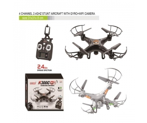 2.4g 4CH 4-Axis Black RC FPV Drone Real Time Transmission With 0.3MP Camera LED For Sale